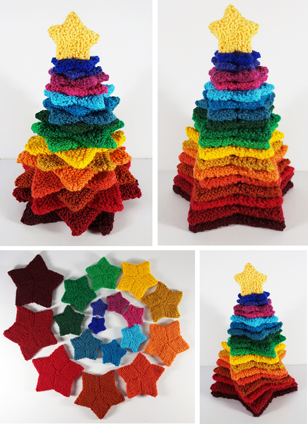 Free Knitting Pattern for Stacking Stars Tree