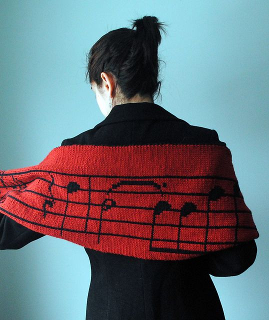 Free Knitting Pattern: Stacy's Musical Scarf by Kalliopi Aronis