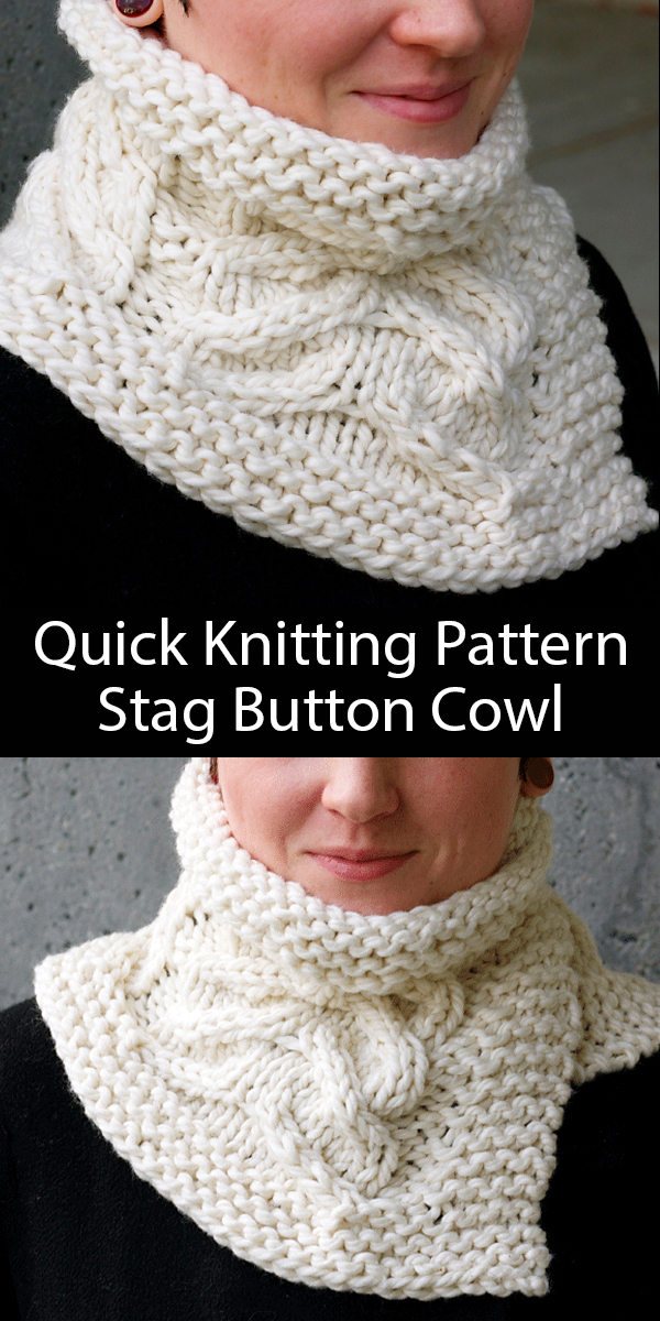 Knitting Pattern for Stag Button Cowl