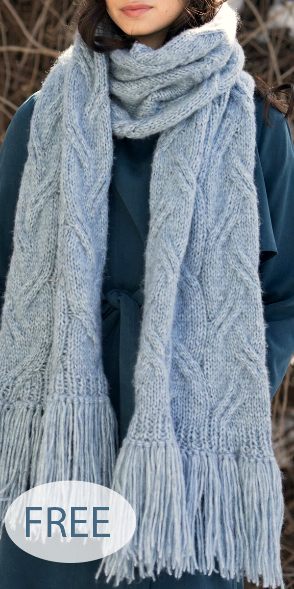 Free Knitting Pattern for Staggered Cable Super Scarf