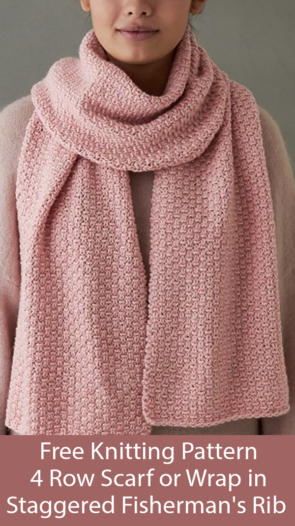 Free Knitting Pattern for 4 Row Repeat Staggered Fisherman's Rib Scarf or Wrap
