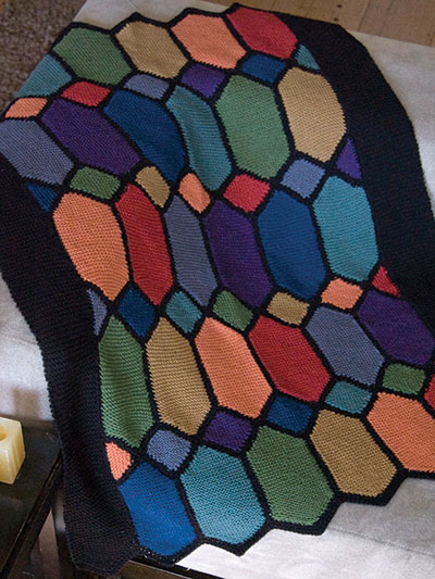 Free knitting pattern for Stained Glass Afghan