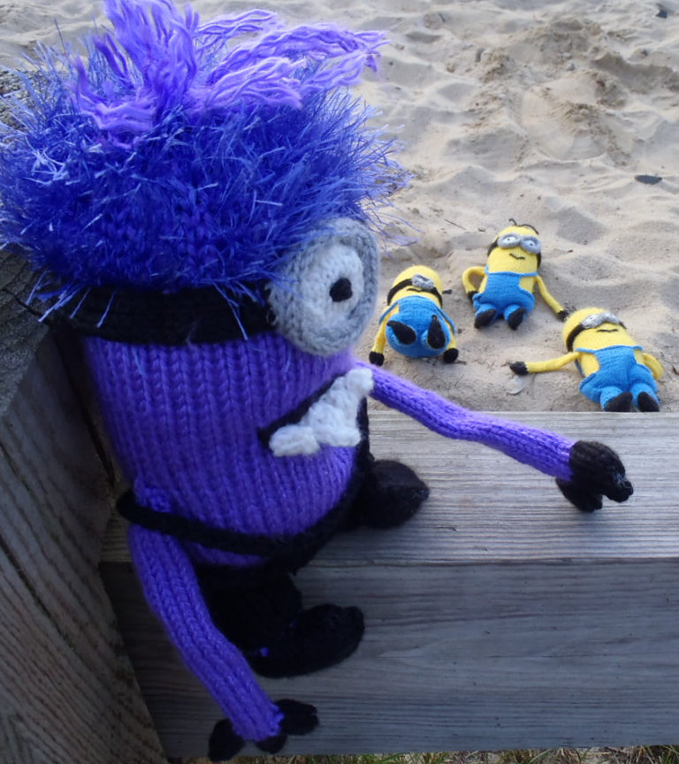 Free Knitting Pattern for Evil Purple Minion