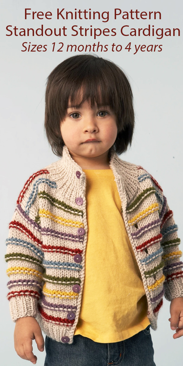 Free Knitting Pattern for Standout Stripes Cardigan for Babies and Children