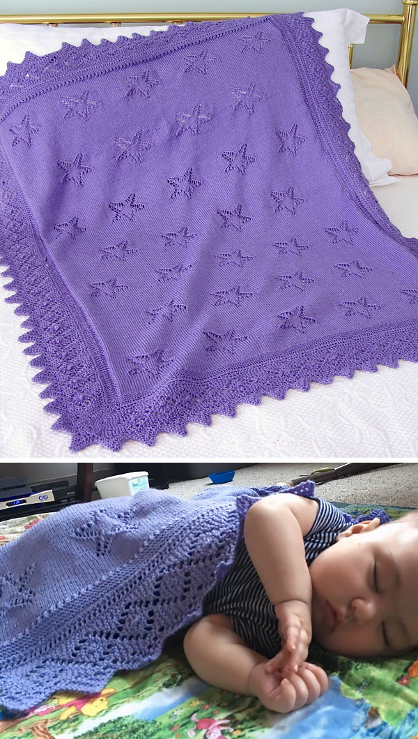 Free Knitting Pattern for Star Light, Star Bright Baby Blanket