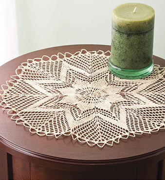 Knitting Pattern for Lacy Star Candle Mat