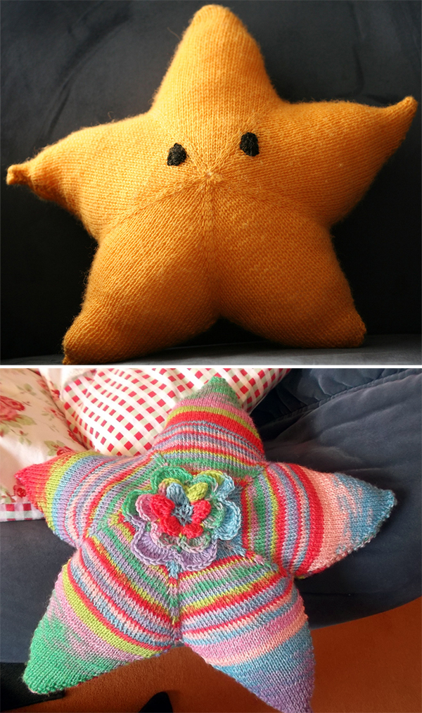 Free Knitting Pattern for Star Cushion