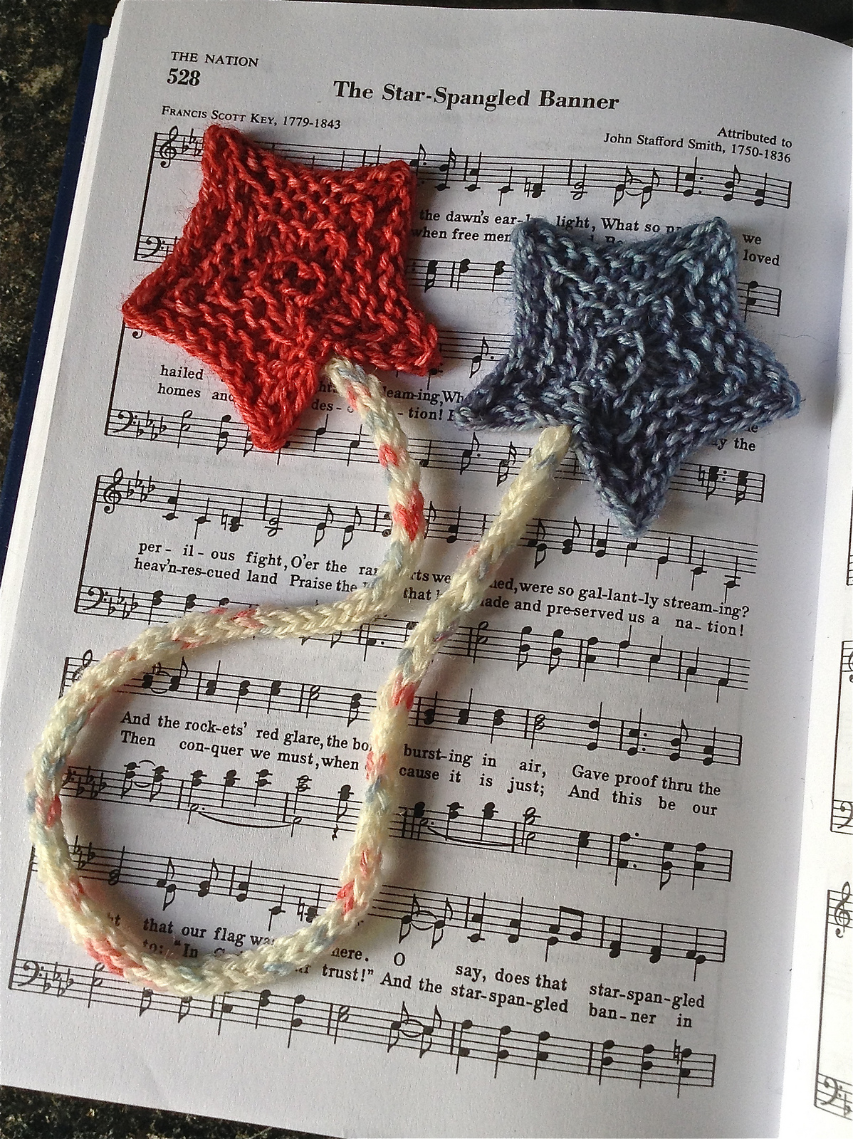 Free Knitting Pattern for Star Spangled Bookmark