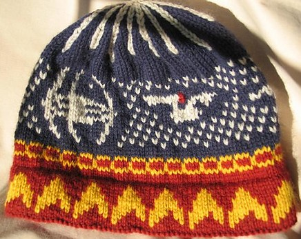 Free knitting pattern for Star Trek Ships Hat and more Trek inspired knitting patterns