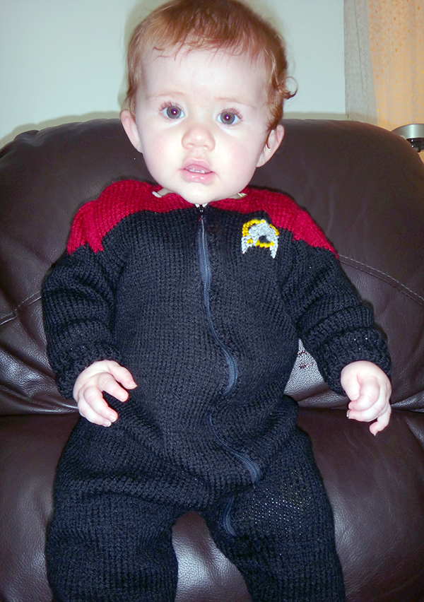 Free knitting pattern for Baby Trek Romper and more movie and tv knitting patterns