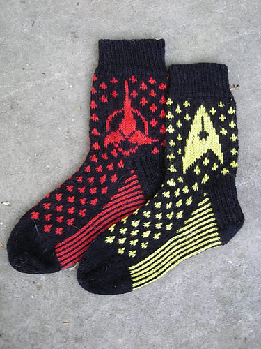 Free knitting pattern for Star Trek Socks