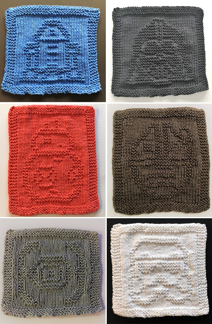 Knitting Patterns for 9 Star Wars Original Dishcloth/Washcloths