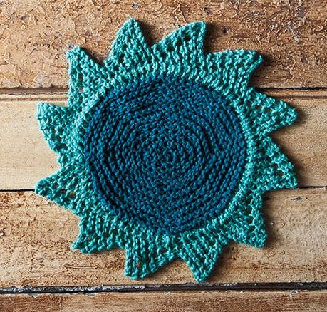 Free knitting pattern for Starflower dish cloth