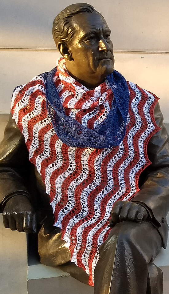 Free Knitting Pattern for Stars and Stripes Forever Shawl
