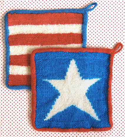 Free Knitting Pattern for Stars and Stripes Felted Hot Pads