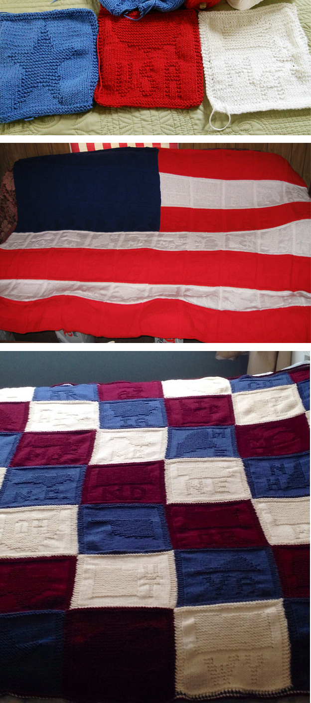 Free Knitting Pattern for United States of America Flag Blocks