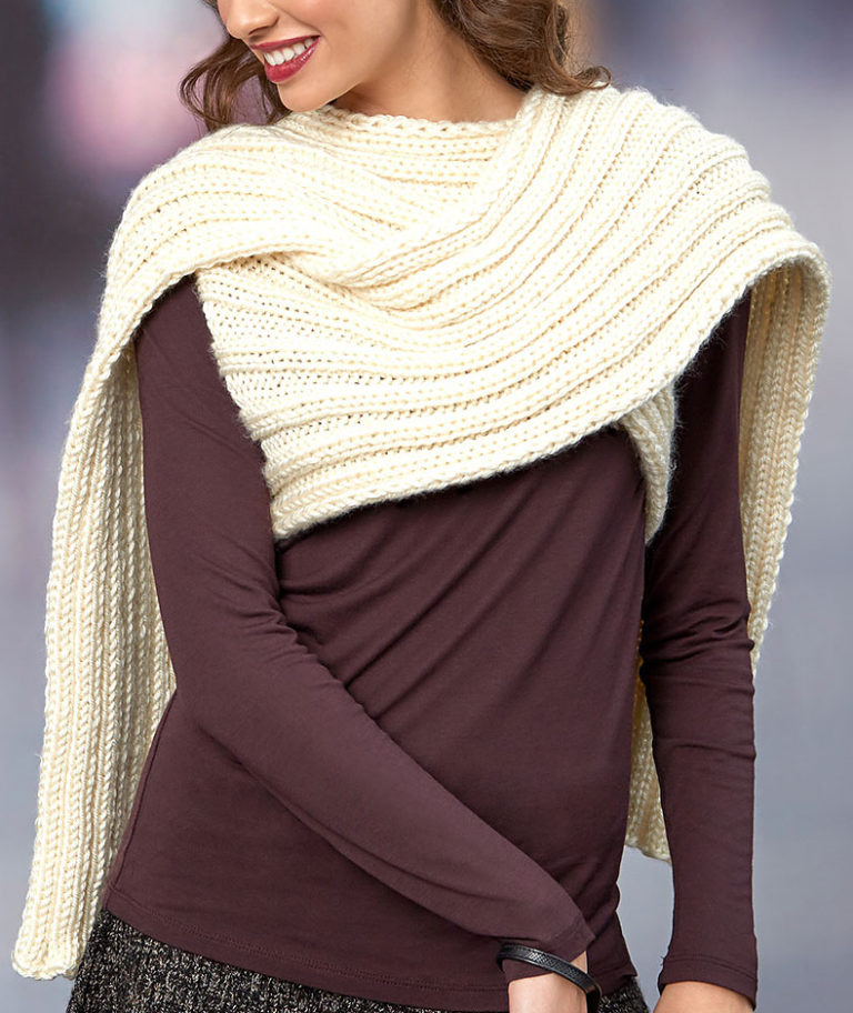 Free Knitting Pattern for Easy Scarf Wrap With Arm Holes