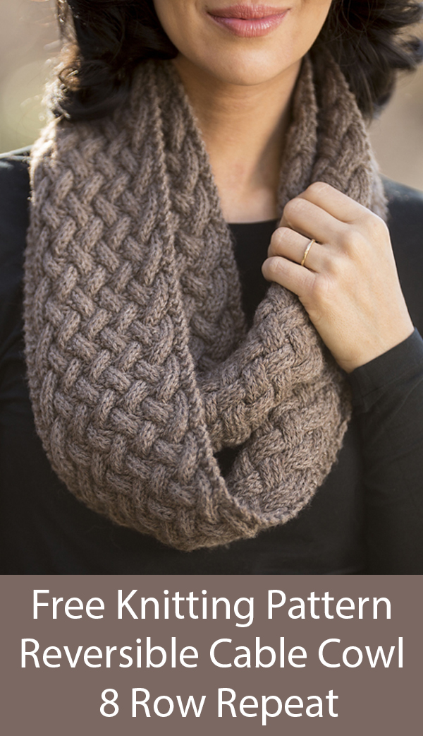 Free Knitting Pattern for Reversible 8 Row Repeat Cable Braided Cowl Infinity Scarf