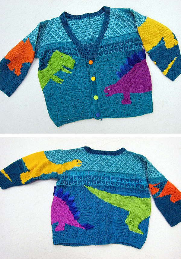 Free Knitting Pattern for Stefan's Dinosaurs Sweater
