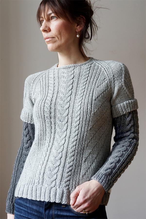Free Knitting Pattern for Double Sleeve Cabled Sweater