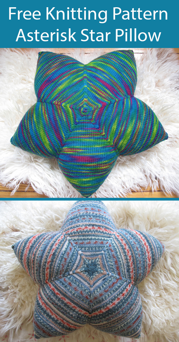 Free Knitting Pattern for Asterisk Star Pillow