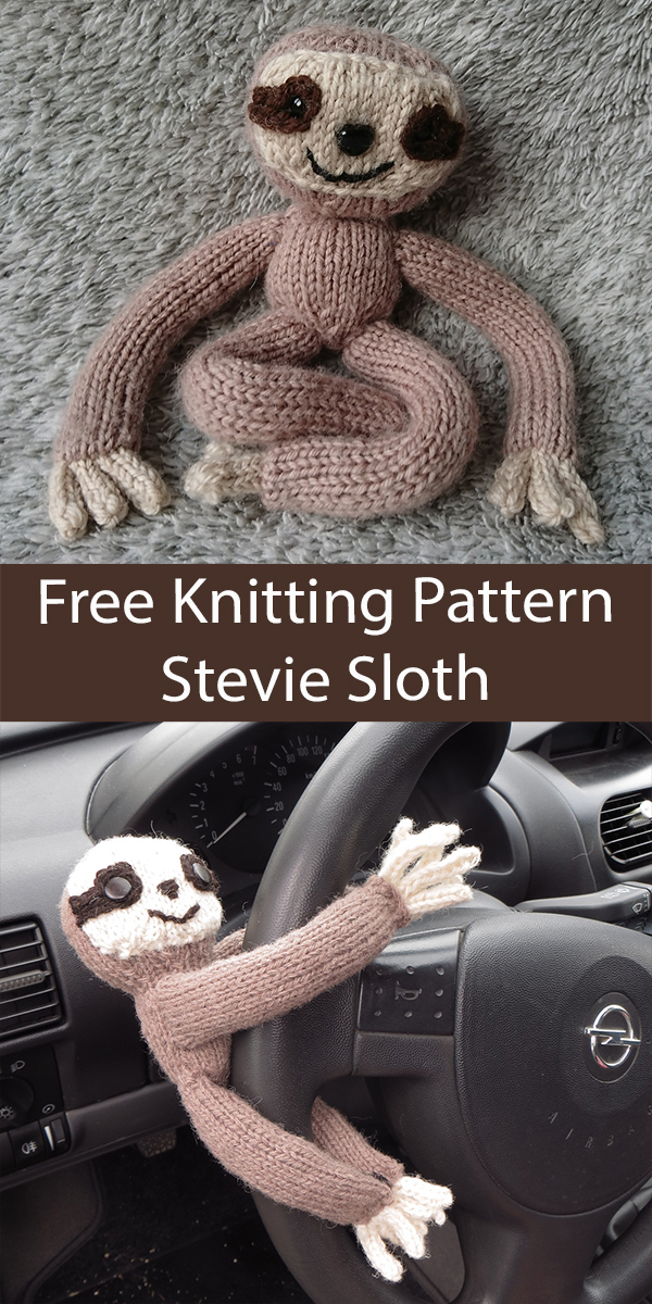Free Sloth Knitting Pattern for Stevie Sloth Toy Softie