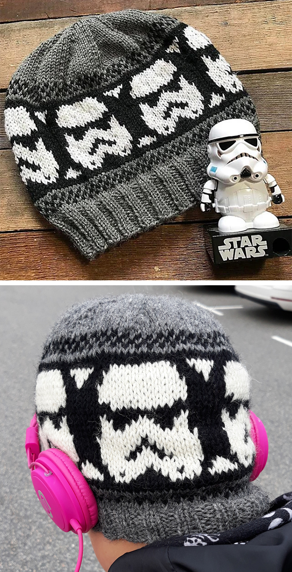 Free Knitting Pattern for Storm Trooper Beanie
