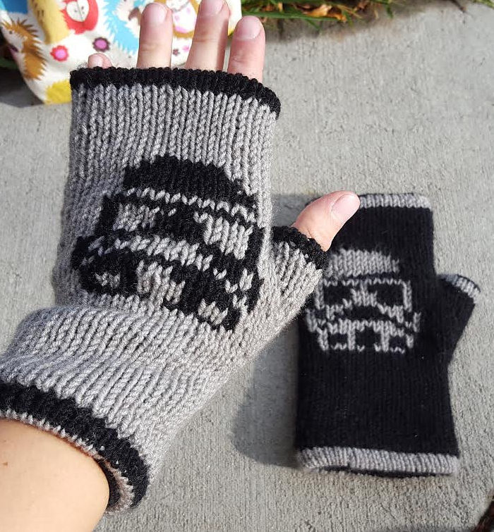 Free Knitting Pattern for Storm Trooper Mitts
