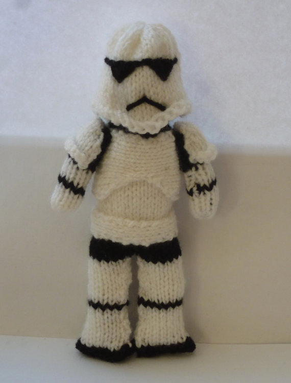 Knitting pattern for Storm Trooper doll toy and more star wars knitting patterns