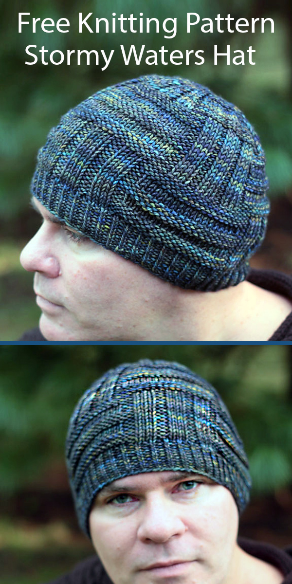 Free Hat Knitting Pattern Stormy Waters Hat