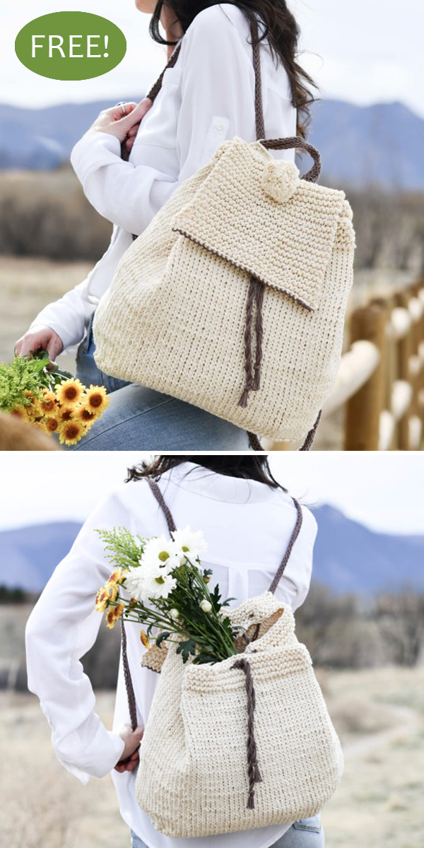 Free Knitting Pattern for Easy Straw Look Backpack