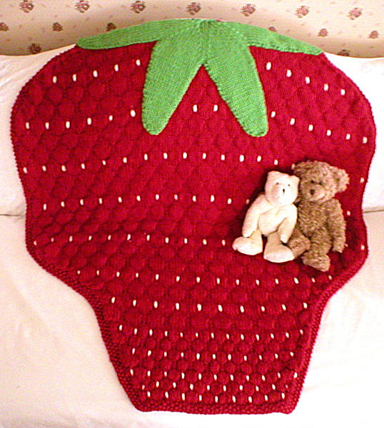 Knitting Pattern for Strawberry Baby Blanket