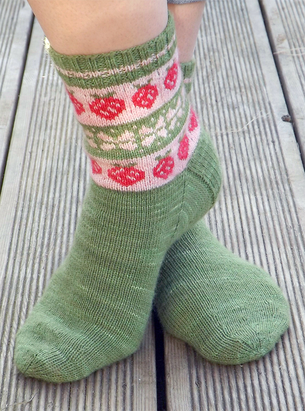 Knitting Pattern for Strawberry Fields Socks