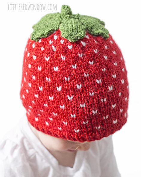 Knitting Pattern for Strawberry Baby Hat