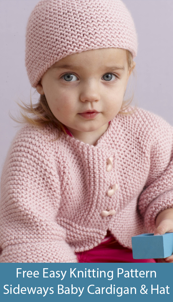 Free Knitting Pattern for Easy Sideways Baby Cardigan and Hat