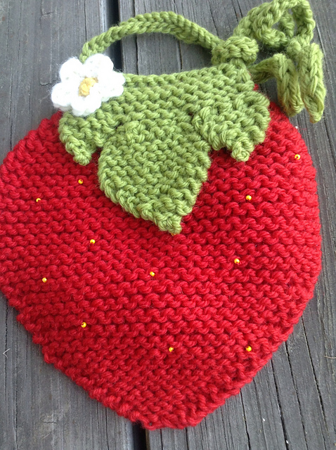 Strawberry Baby Bib Free Knitting Pattern