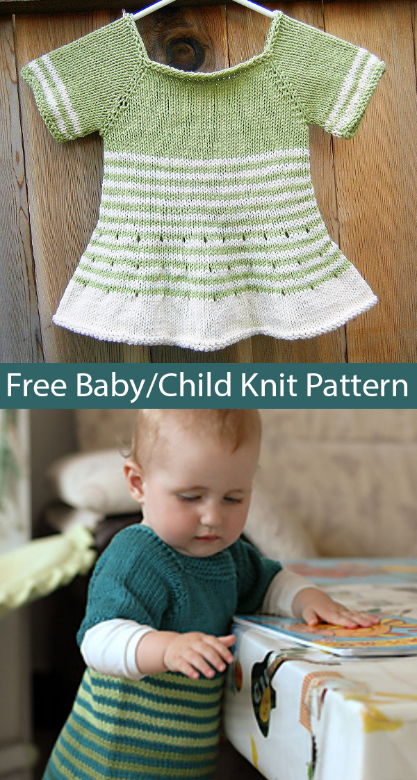 Free Knitting Pattern for Baby and Child Strimma Tunic or Dress Stashbuster