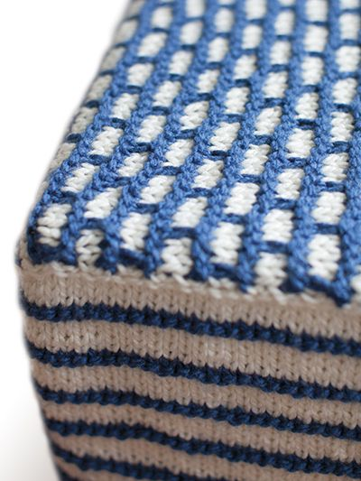 Free knitting pattern for Footstool Cube Cover