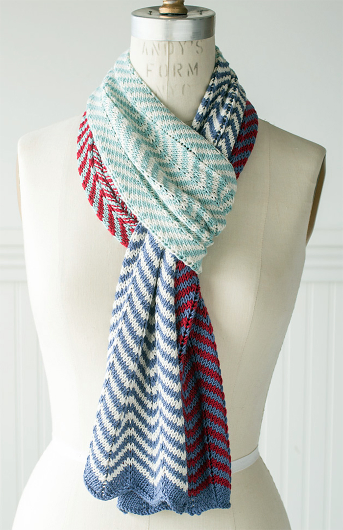Free Knitting Pattern for 2 Row Repeat Easy Striped Chevron Scarf