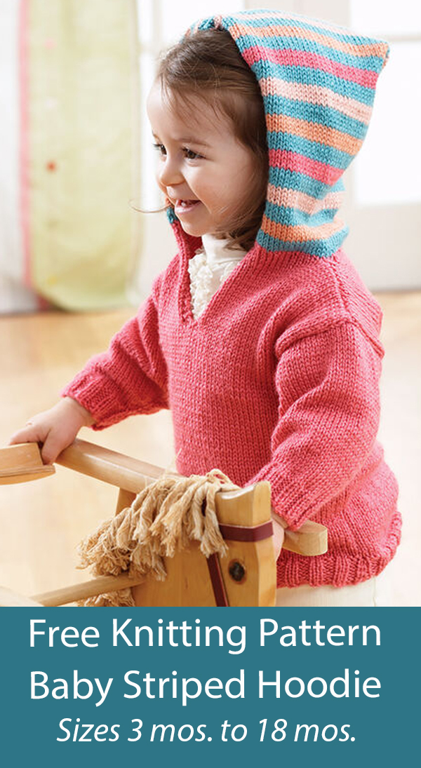 Free Baby Sweater Knitting Pattern Baby Striped Hoodie Jumper