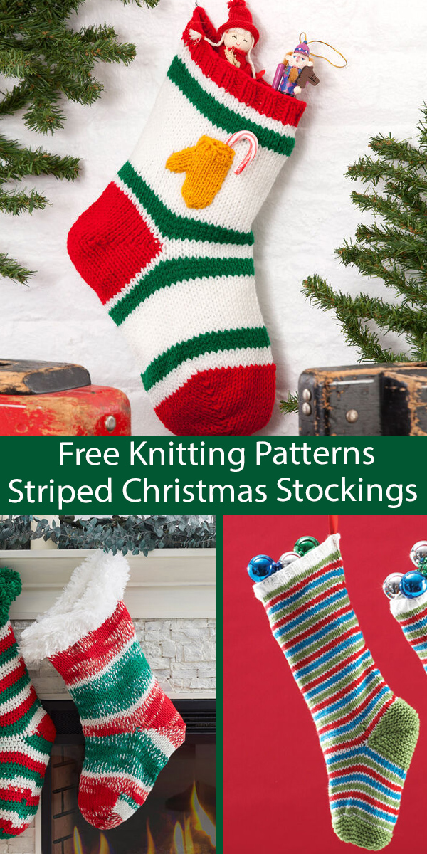 Free Christmas Stocking Knitting Patterns Striped Christmas Stockings