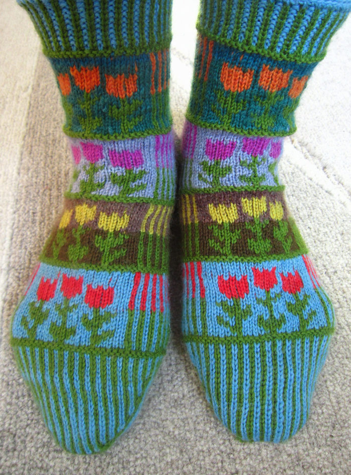 Free Knitting Pattern for Stripes and Tulips Socks