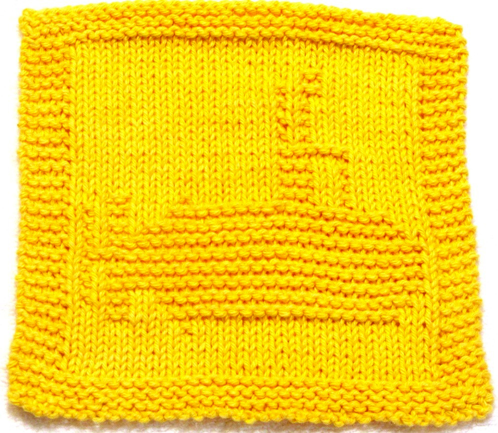 Knitting Pattern for Yellow Submarine Washcloth