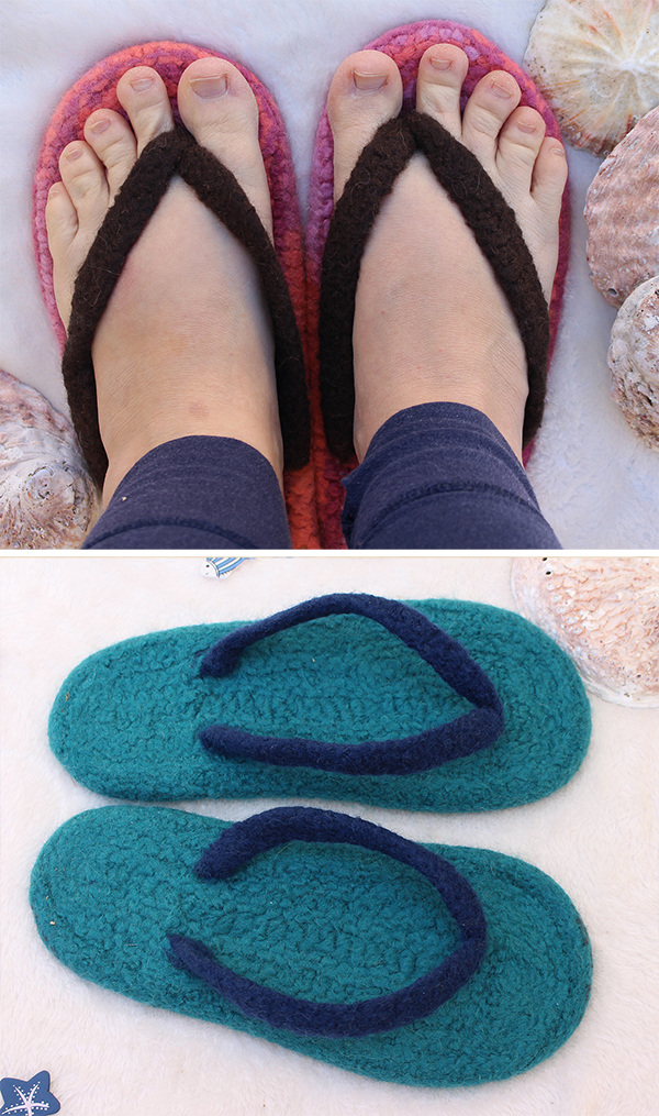 Knitting Pattern for Summer Flippers - Felted Flip-Flop Slippers