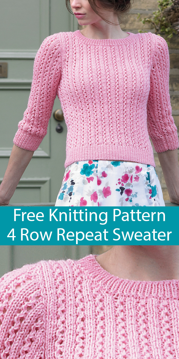 Free Knitting Pattern for Summer Palace Cropped Sleeve Sweater