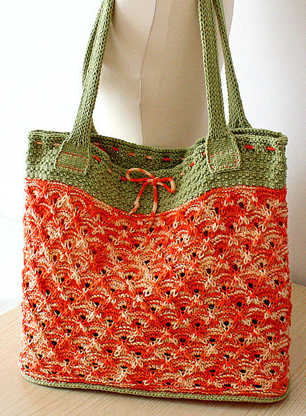 Knitting Pattern for Two-Tone Lace Tote Bag