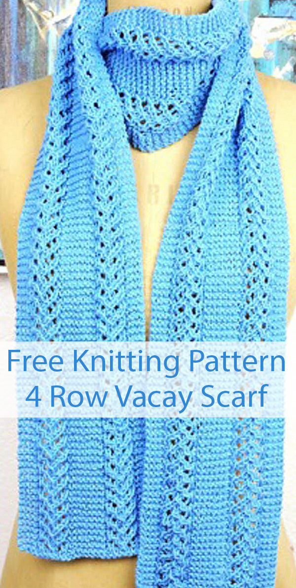 Free Knitting Pattern for 4 Row Repeat Vacay Scarf