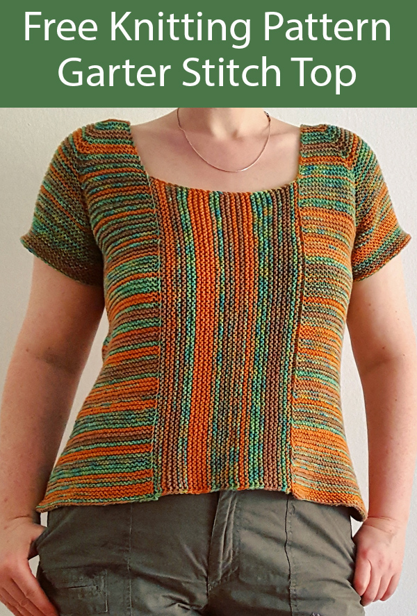 Free Knitting Pattern for Garter Stitch Top