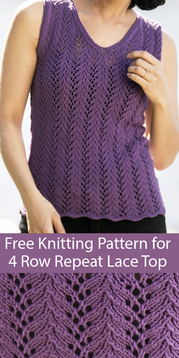 Free Knitting Pattern for 4 Row Repeat Lace Tank