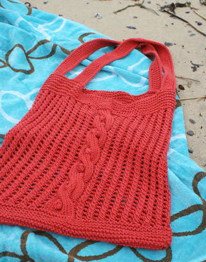 Free knitting pattern for Sundance Beach Bag tote
